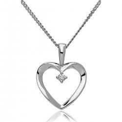 0.02ct 18ct White Gold Heart Pendant