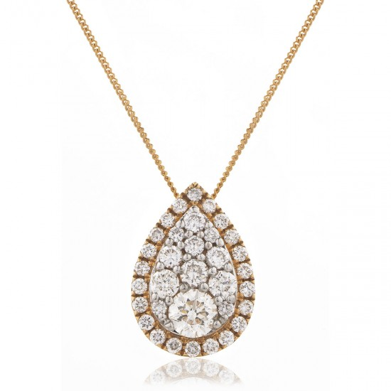 0.25ct 18ct Rose Gold Cluster Pendant