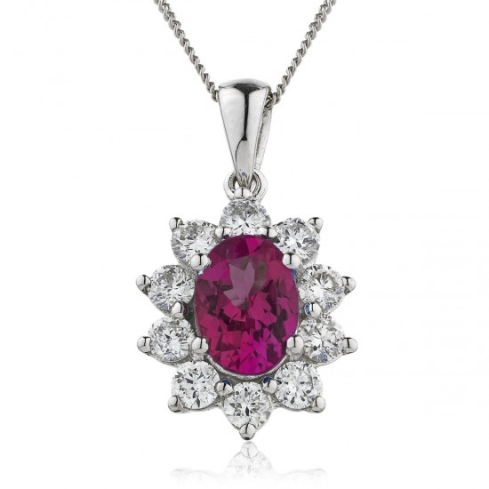 0.80ct 18ct White Gold Ruby Pendant