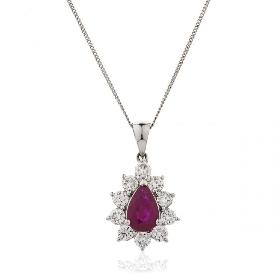 0.65ct 18ct White Gold Ruby Pendant