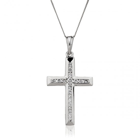 0.11ct 9ct White Gold Cross Pendant