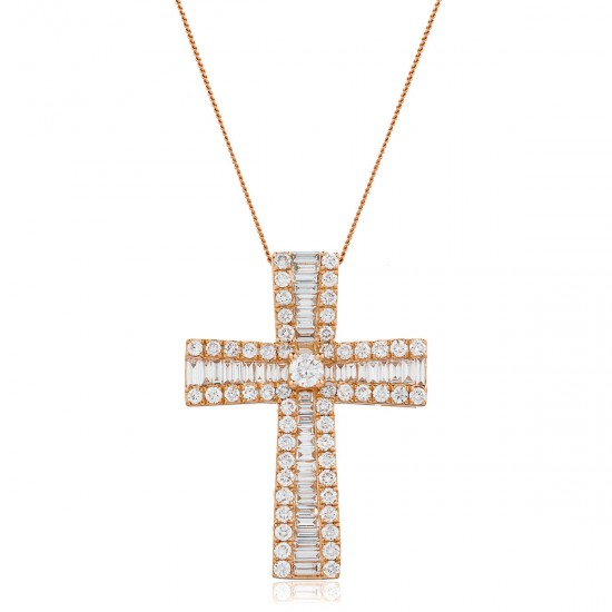 1.25ct 18ct Rose Gold Cross Pendant