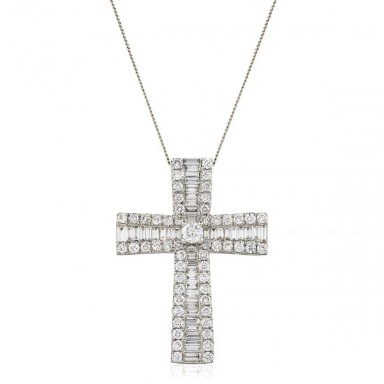 1.25ct 18ct White Gold Cross Pendant