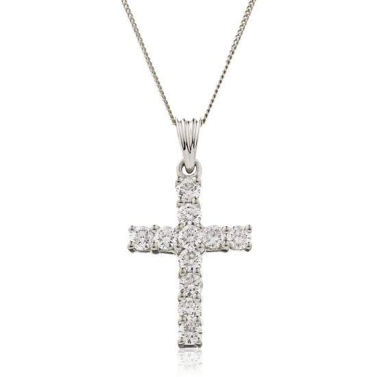 0.50ct 18ct White Gold Cross Pendant