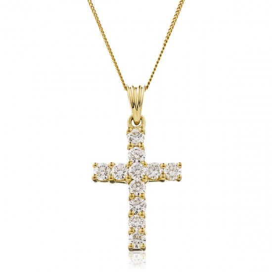 0.25ct 18ct Yellow Gold Cross Pendant
