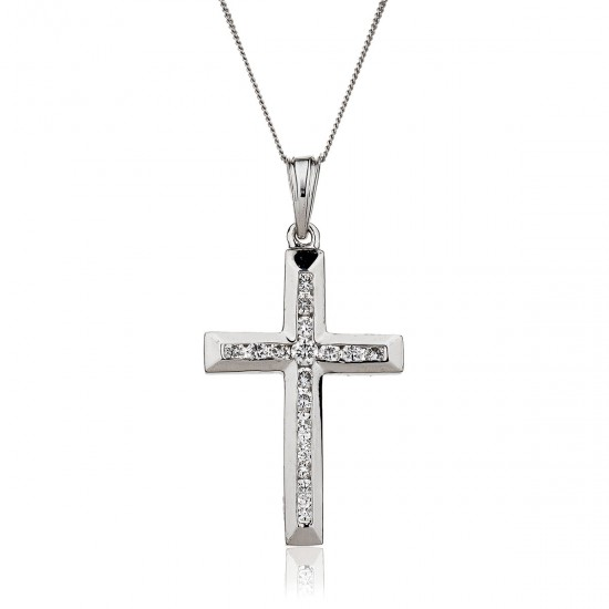 0.25ct 9ct  White Gold Cross Pendant