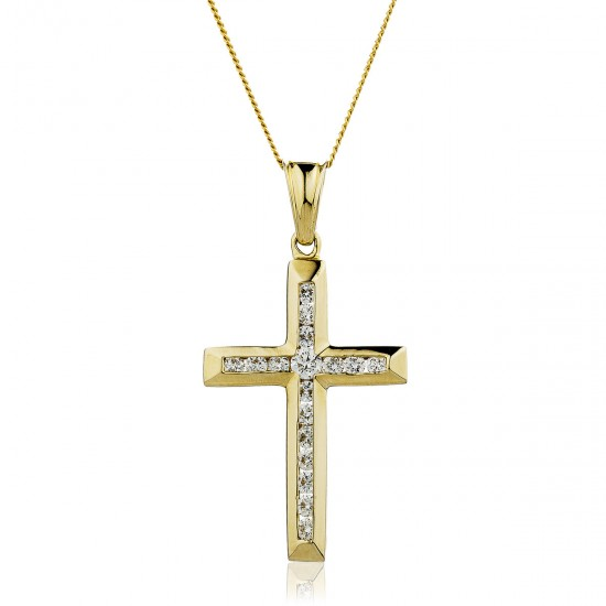 0.25ct 9ct  Yellow Gold Cross Pendant