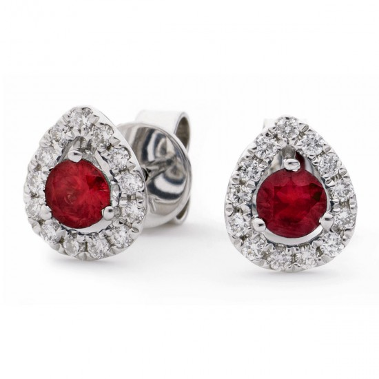 0.65ct 18ct White Gold Ruby Earrings