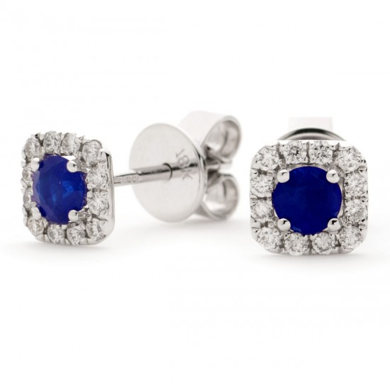 0.60ct 18ct White Gold Blue Sapphire Earrings