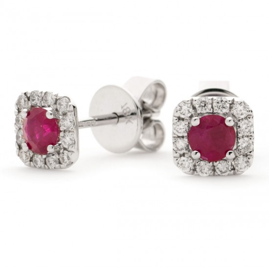 0.60ct 18ct White Gold Ruby Earrings