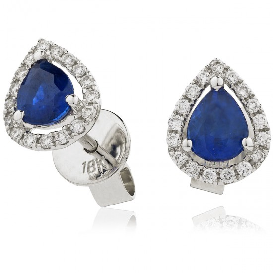 0.85ct 18ct White Gold Blue Sapphire Earrings