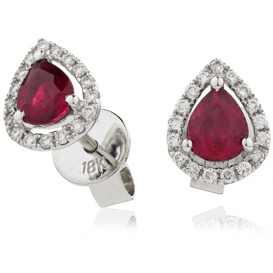 1.00ct 18ct White Gold Ruby Earrings