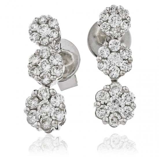 0.70ct 18ct White Gold Drop Earrings