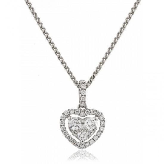 0.70ct 18ct White Gold Heart Pendant