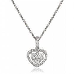 0.40ct 18ct White Gold Heart Pendant