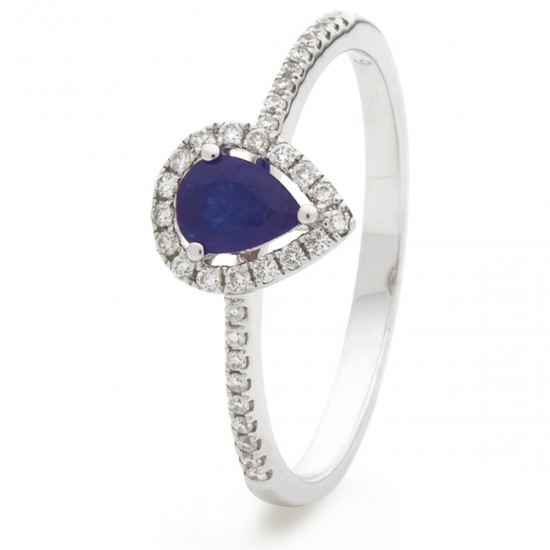 0.45ct 18ct White Gold Blue Sapphire Ring