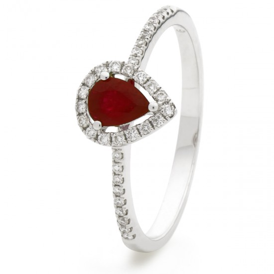 0.45ct 18ct White Gold Ruby Ring