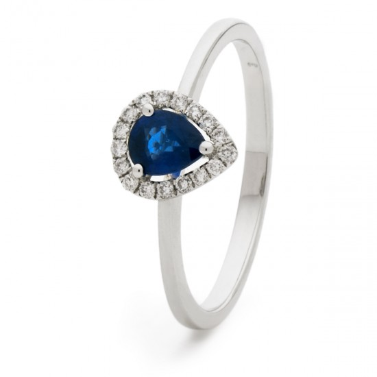 0.50ct 18ct White Gold Blue Sapphire Ring