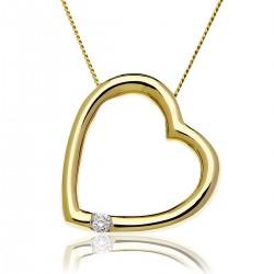 0.05ct 9ct  Yellow Gold Heart Pendant