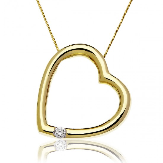 0.05ct 9ct  Yellow Gold Heart Pendant