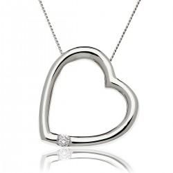0.05ct 9ct  White Gold Heart Pendant