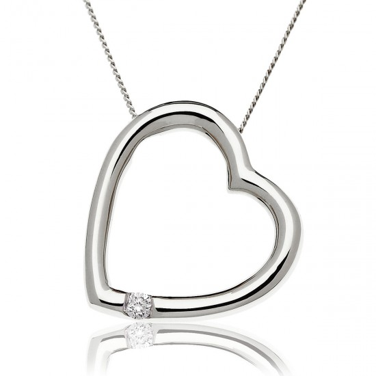0.05ct 9ct  White Gold Heart Pendant