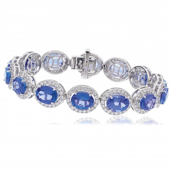 22.70ct 18ct White Gold Tanzanite Bracelet