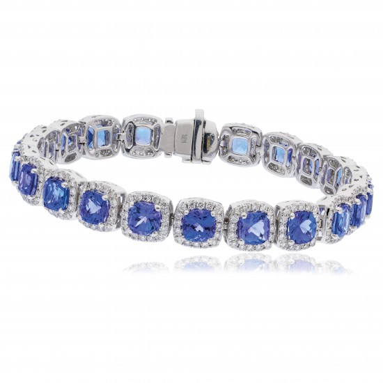 23.20ct 18ct White Gold Tanzanite Bracelet