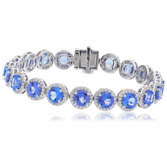 20.45ct 18ct White Gold Tanzanite Bracelet