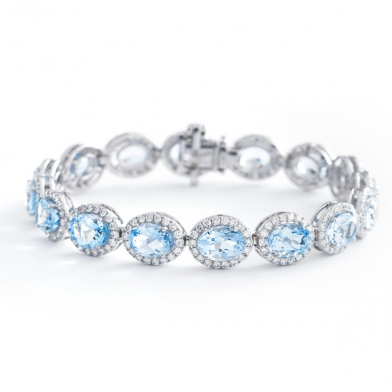 3.53ct 18ct White Gold Aquamarine Bracelet