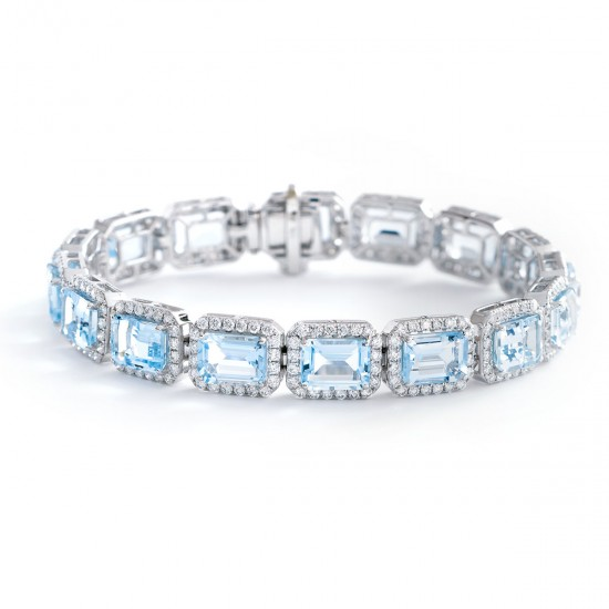 26.26ct 18ct White Gold Aquamarine Bracelet