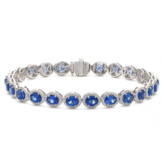 2.00ct 18ct White Gold Blue Sapphire Bracelet