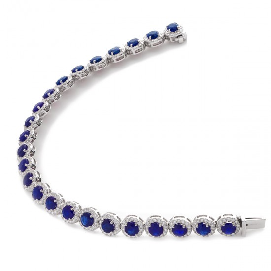 15.25ct 18ct White Gold Blue Sapphire Bracelet