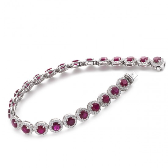 15.00ct 18ct White Gold Ruby Bracelet