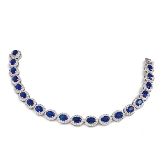 12.80ct 18ct White Gold Blue Sapphire Bracelet