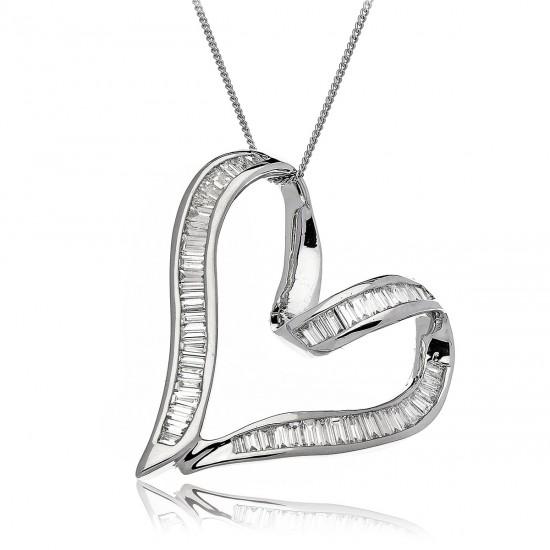 1.00ct 18ct White Gold Heart Pendant