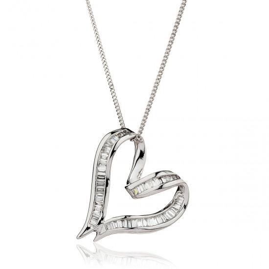 0.30ct 18ct White Gold Heart Pendant
