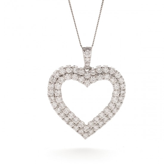0.60ct 18ct White Gold Heart Pendant