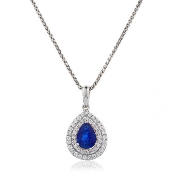 0.95ct 18ct White Gold Blue Sapphire Pendant