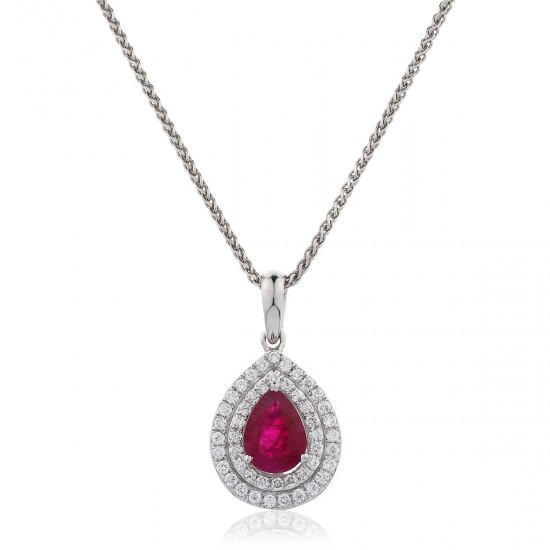 0.95ct 18ct White Gold Ruby Pendant