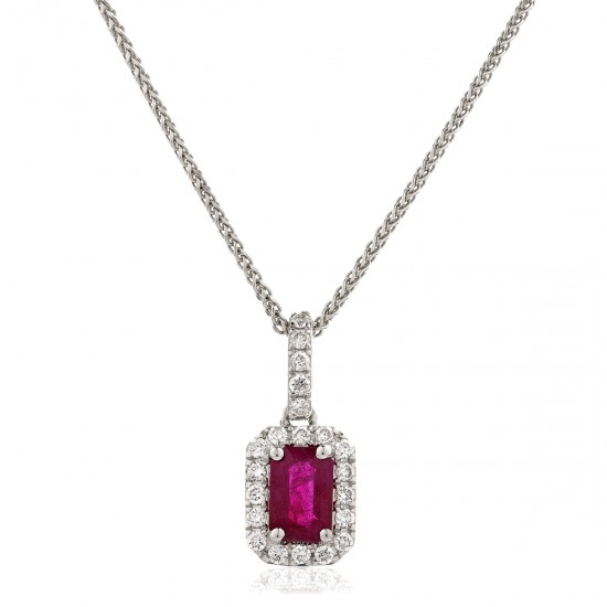 0.40ct 18ct White Gold Ruby Pendant