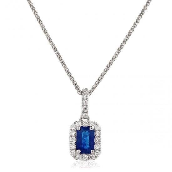 0.80ct 18ct White Gold Blue Sapphire Pendant