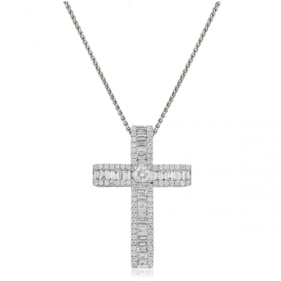 1.10ct 18ct White Gold Cross Pendant