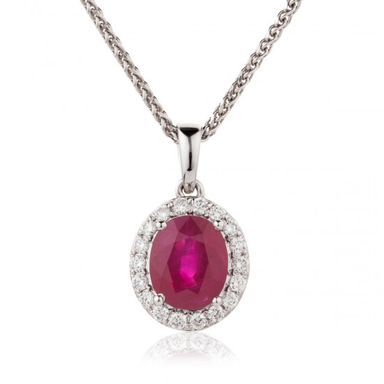 1.25ct 18ct White Gold Ruby Pendant