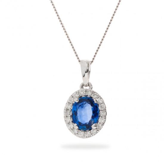 0.75ct 18ct White Gold Blue Sapphire Pendant