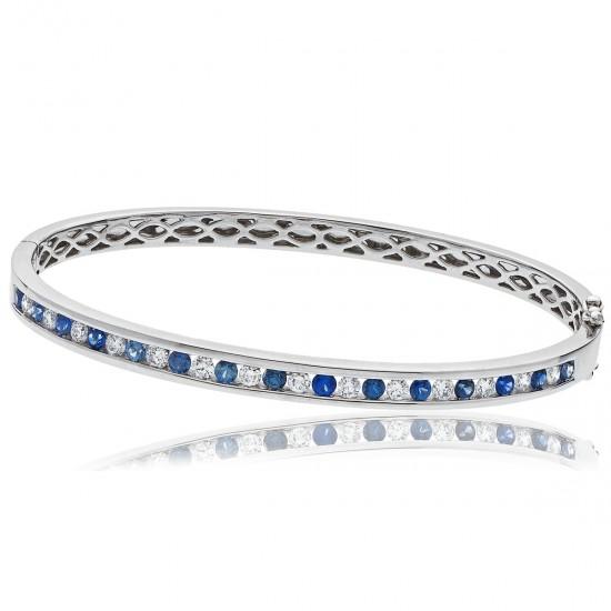 1.95ct 18ct White Gold Blue Sapphire Bracelet