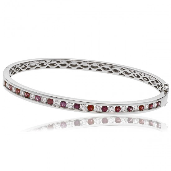 1.95ct 18ct White Gold Ruby Bracelet