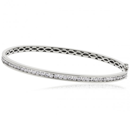 0.60ct 9ct  White Gold Diamond Bangle