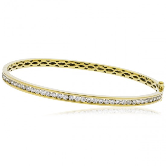 0.60ct 9ct  Yellow Gold Diamond Bangle