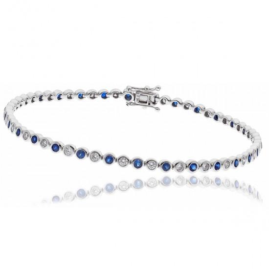 2.25ct 18ct White Gold Blue Sapphire Bracelet